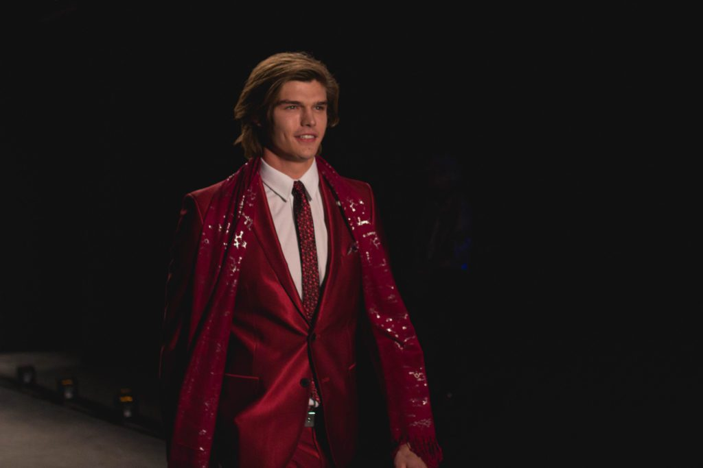 "Model walks the runway for designer Nick Graham's ""Life on Mars"" fashion show in New York Fashion Week: Men's"