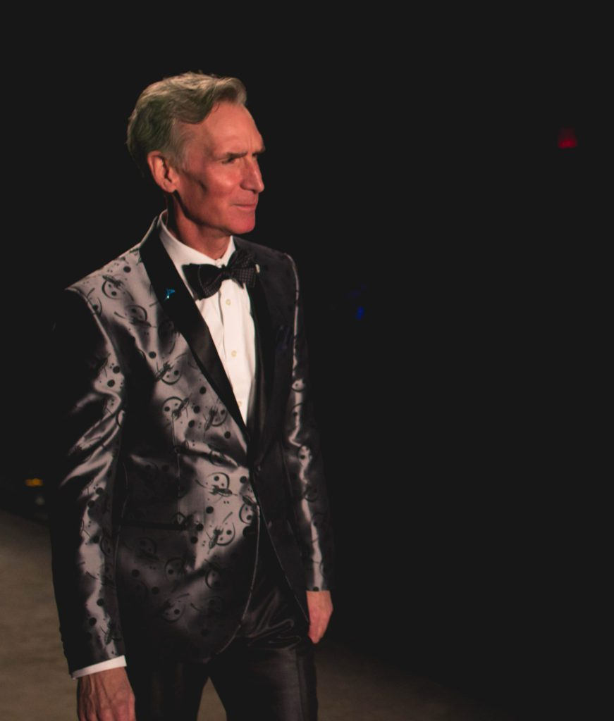 Bill Nye wearing a tuxedo by friend and designer, Nick Graham.