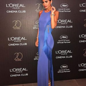 Farah Abdel Aziz in Elisabetta Franchi SS17 Collection at the L'Oreal Paris Cinema Club Party during the 2017 Cannes Film Festival