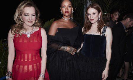Caroline Scheufele (Artistic Director and Co-President of Chopard), Rihanna and Julianne Moore in Chopard --WWD