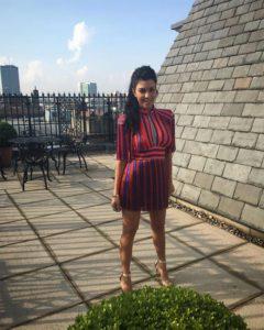 Kourtney Kardashian in Elisabetta Franchi FW16 Red and Blue Fringe Dress