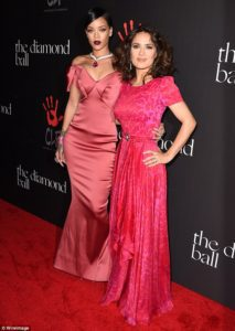 Rihanna and Salma Hayek on the Red Carpet at the First Annual Diamond Ball in Beverly Hills, California