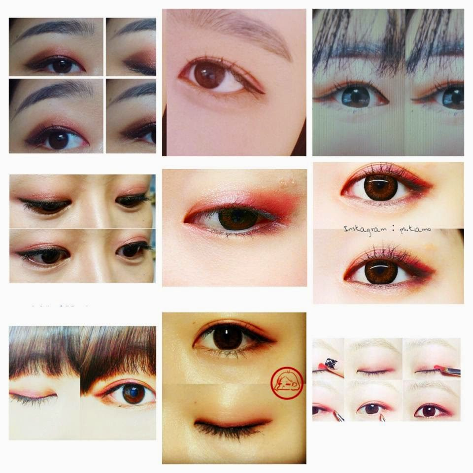 Collage of Korean eyeshadow looks from Jenny's blog