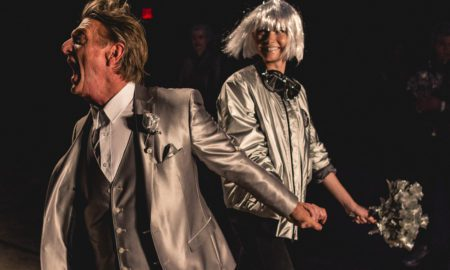 "Designer Nick Graham in an exuberant moment during his ""Life on Mars"" runway show in New York Fashion Week: Men's"