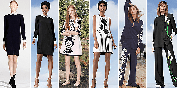 From left to right: VVB Fall 2012, BxTarget Black Collared Dress; VVB Spring 2016, VBxTarget Black and White Mod Shift Tulip Appliqué Dress; VVB Fall 2017 Resort, VBxTarget Black Satin Calla Lily Wide Leg Pant and matching Blouse
