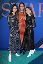Danielle Haim, Este Haim, and Alana Haim in Diane Von Furstenberg at the 2017 CFDA Awards in New York City at Manhattan Center's Hammerstein Ballroom --WWD
