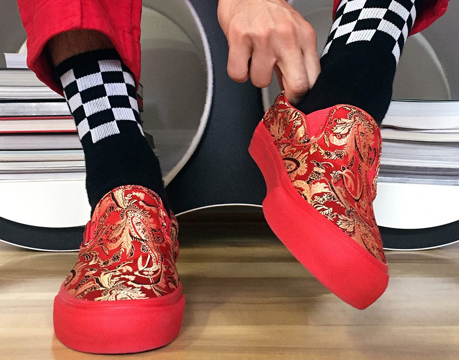 3db15dda6cb Opening Ceremony and Vans continue their collaboration to bring back the  new and improved Qi Pao vans. These silky slip on vans are inspired by the  Chinese ...