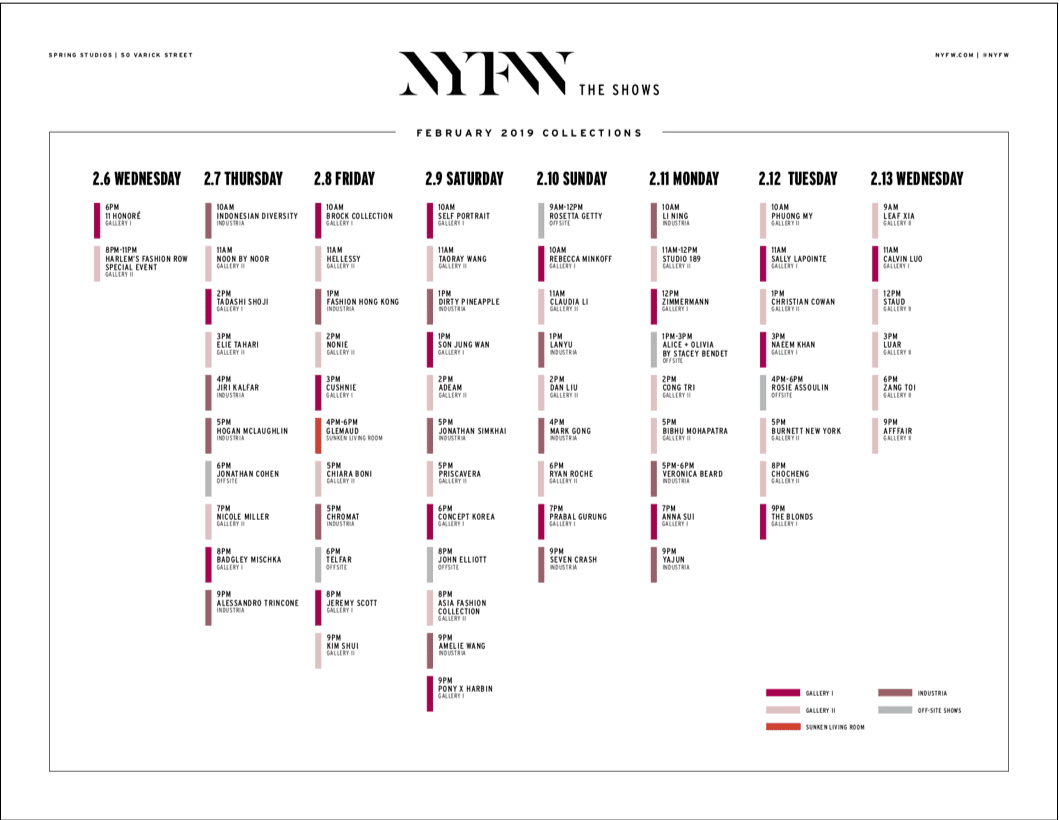 IMG Announces Preliminary Schedule for NYFW: The Shows - Feb