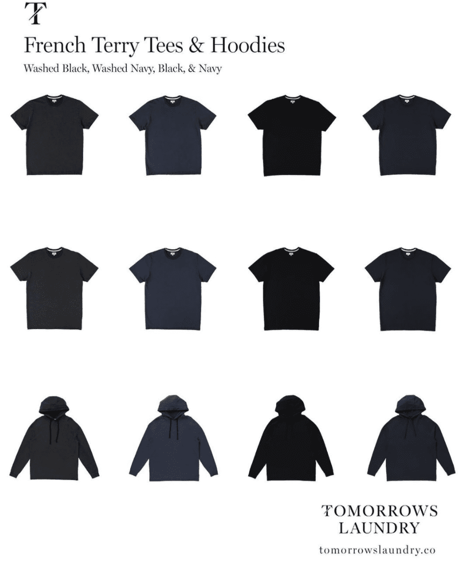 Photo of sweatshirts and t-shirts of Tomorrows Laundry
