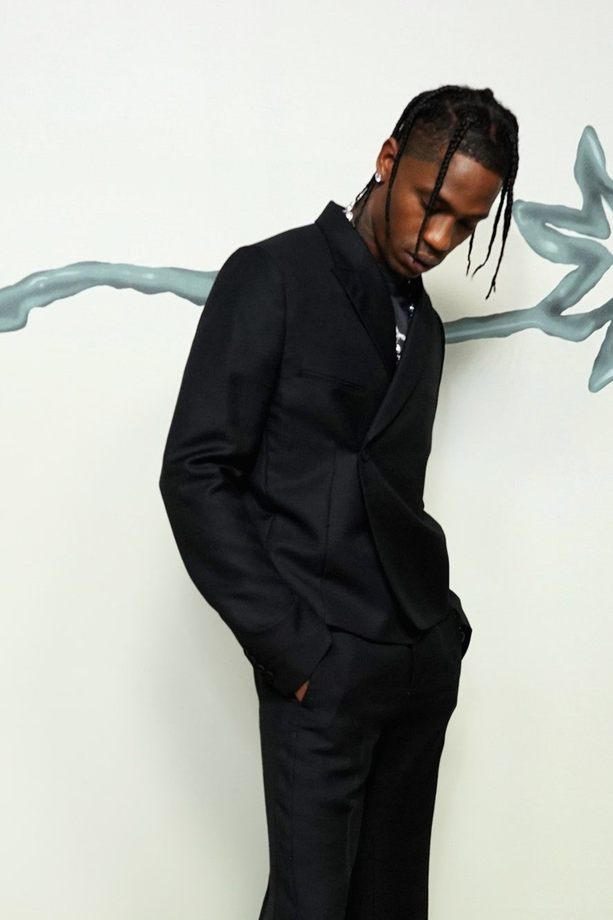 Travis Scott Wearing Travis Scott x Dior collection Paris Fashion week