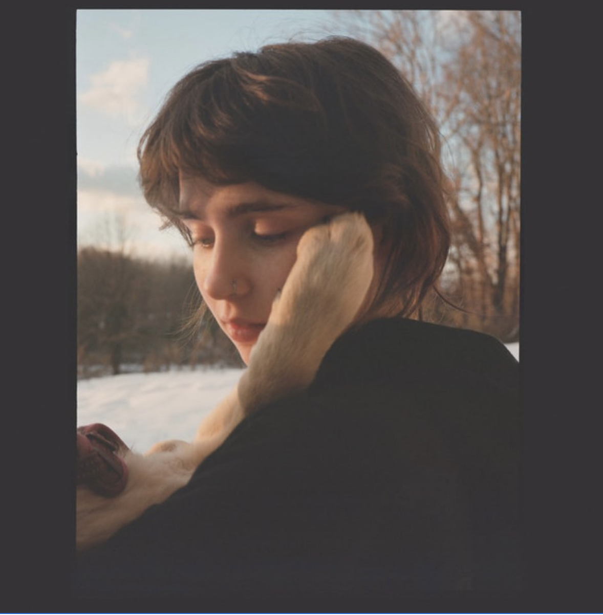 Clairo and dog Joanie on 'Sling' Album Cover (from her Instagram page)