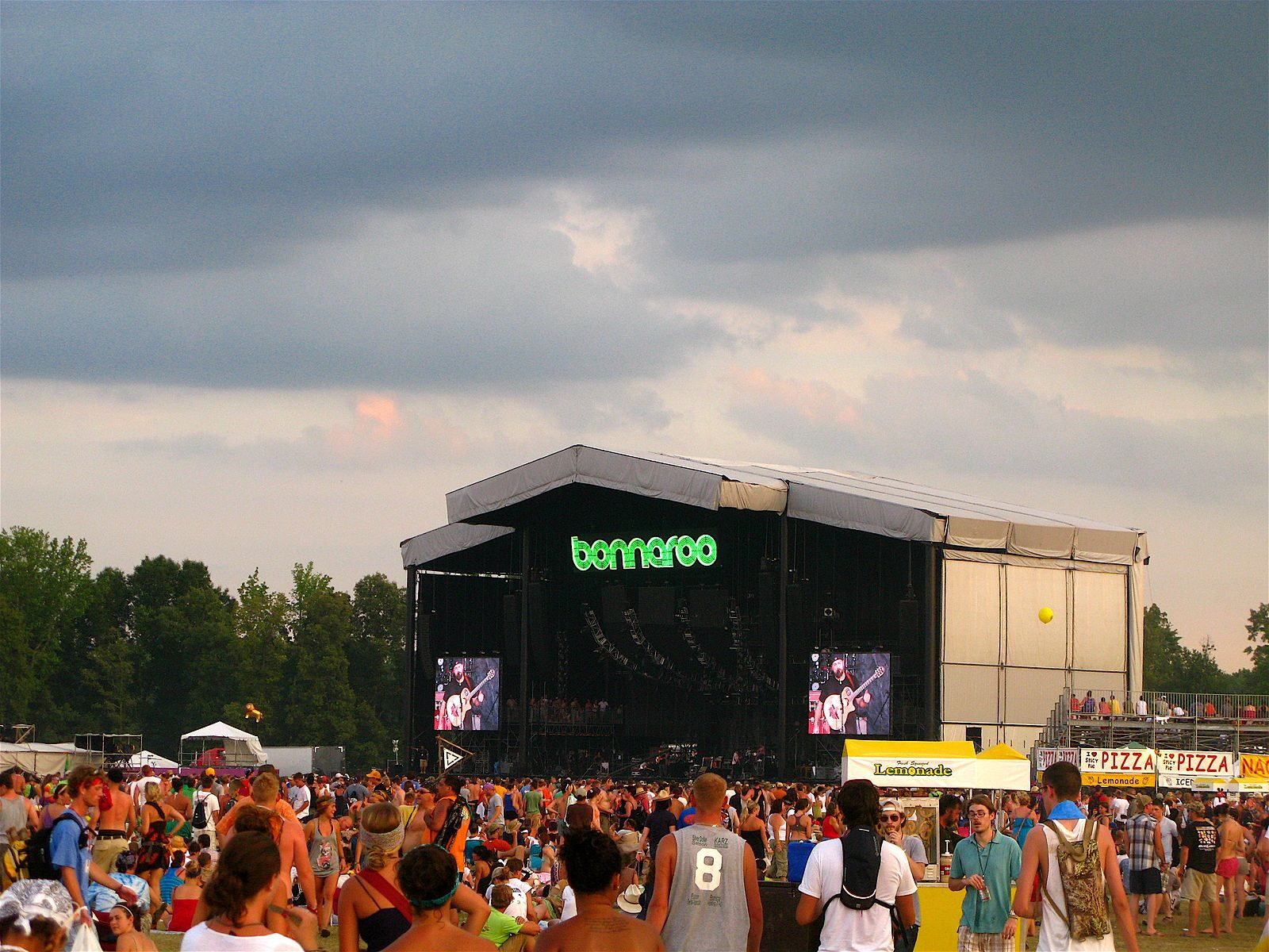 A crowd and stage at Bonnaroo Music Festival